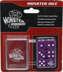 Six Purple 6-Sided Monster Dice with Carrying Case