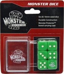 Six Green 6-Sided Monster Dice with Carrying Case