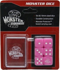 Six Pink 6-Sided Monster Dice with Carrying Case