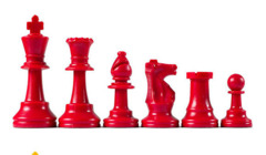 Red Plastic Chess Pieces