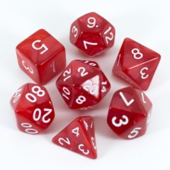 Pearl Red / White 7 Dice Set