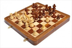 Folding Wooden Magnetic Travel Chess Set - 10