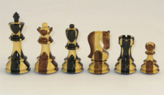 Inlaid Ebony & Sheesham Chess Set - 3.75