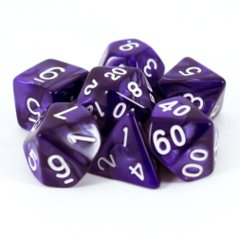 Pearl Purple / White 7 Dice Set
