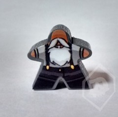 Gray Stickered Meeple from Terror in Meeple City