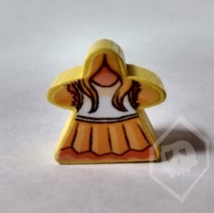 Yellow Stickered Meeple from Terror in Meeple City