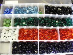20 Randomly Colored Glass Counters