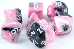 Chessex Dice CHX 26430 Gemini Polyhedral Black-Pink w/ White Set of 7