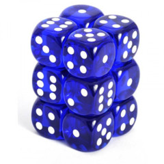 Chessex Dice CHX 23606 Translucent 16mm D6 Blue w/ White Set of 12