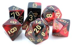 Chessex Dice CHX 26433 Gemini Polyhedral Black-Red w/ Gold Set of 7