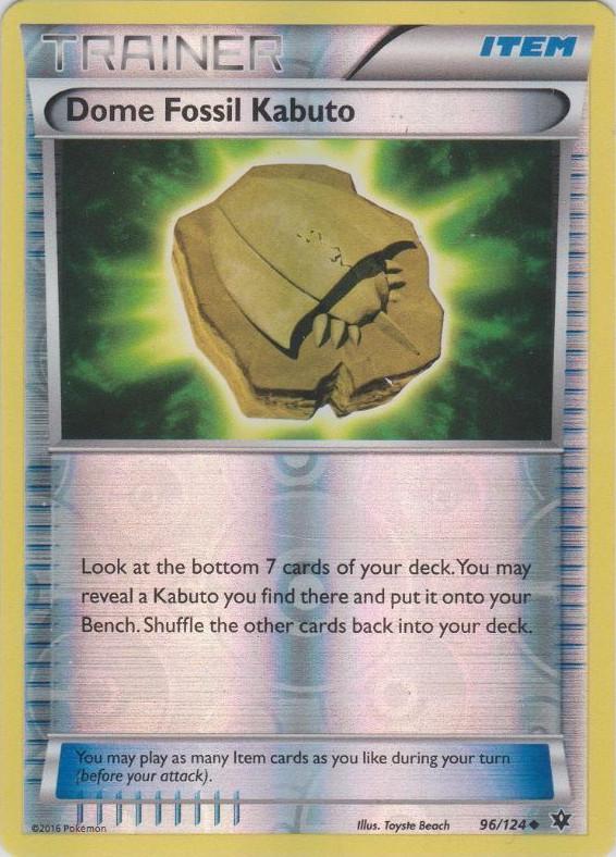 Dome Fossil Kabuto - 96/124 - Uncommon - Reverse Holo ...  Kabuto Pokemon Fossil
