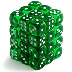 Chessex Dice CHX 23805 Translucent 12mm D6 Green w/ White Set of 36