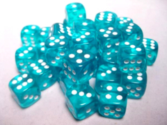 Chessex Dice CHX 23815 Translucent 12mm D6 Teal w/ White Set of 36