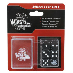 Monster Protectors 6-Piece Dice Set & Carrying Case - Black
