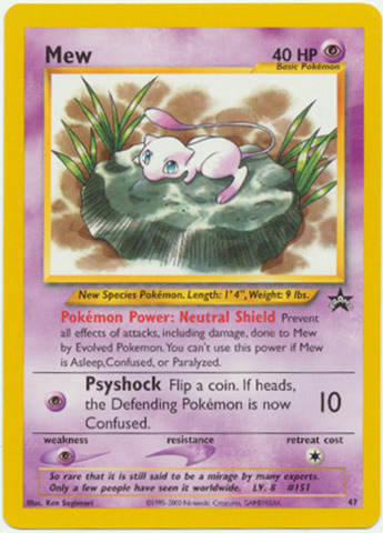 Mew Lilypad #47 Non-Holo Promo - 2002 Pokemon League