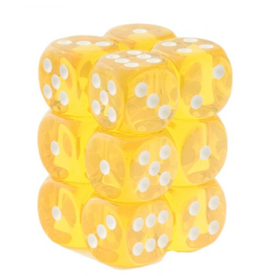 Chessex Dice CHX 23602 Translucent 16mm D6 Yellow w/ White Set of 12