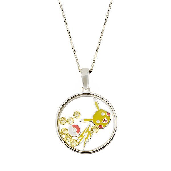 Pikachu Sterling Silver Disc Pendant 18Chain Necklace