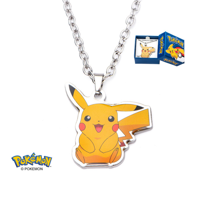 Pikachu Stainless Steel Dangle Charm & 16 Necklace