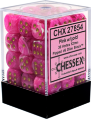 Chessex Dice CHX 27854 Vortex 12mm D6 Pink w/ Gold Set of 36