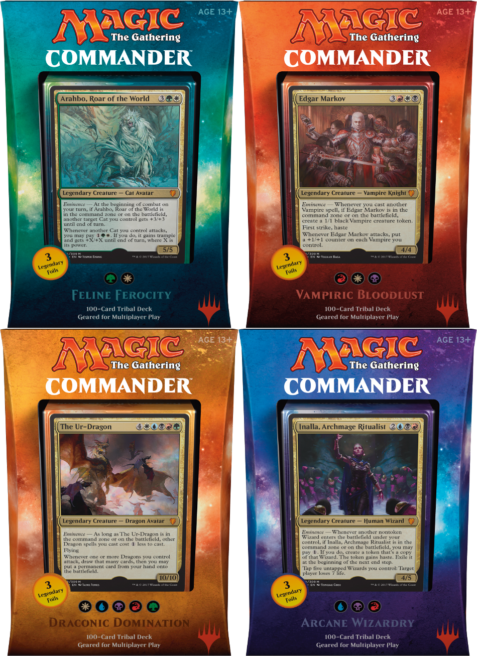 2017 MTG Commander Set of 4 Decks