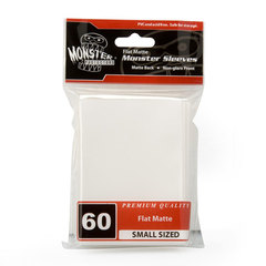 Monster Small Size White Flat Matte Sleeves - 60ct
