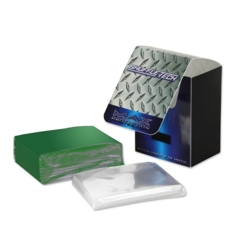 Max Protection Standard Size Shuffletech 100ct Green Sleeves + Deck Box + 100ct Perfect Fit Combo