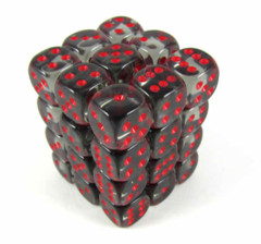 Chessex Dice CHX 23818 Translucent 12mm D6 Smoke w/ Red Set of 36