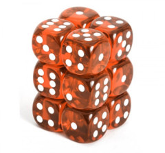 Chessex Dice CHX 23603 Translucent 16mm D6 Orange w/ White Set of 12