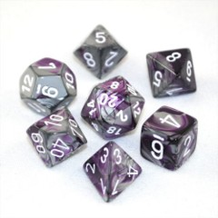 Chessex Dice CHX 26432 Gemini Polyhedral Purple-Steel w/ White Set of 7