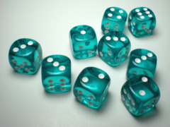 Chessex Dice CHX 23615 Translucent 16mm D6 Teal w/ White Set of 12