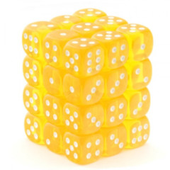 Chessex Dice CHX 23802 Translucent 12mm D6 Yellow w/ White Set of 36