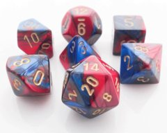 Chessex Dice CHX 26429 Gemini Polyhedral Blue-Red w/ Gold Set of 7