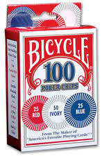 Bicycle 100 Poker Chips (Plastic): 50 Ivory, 25 Blue, 25 Red