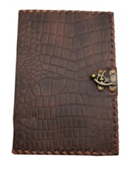 2622 - 7 x 10 inch Brown Python Leather Embossed Journal