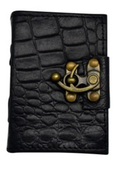 2624 - 3.5 x 5 inch Black Python Embossed Leather Journal