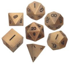 16mm Metal Polyhedral Dice Set - Antique Gold