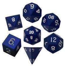 16mm Metal Polyhedral Dice Set - Blue