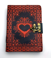 2693 - Black/Red Leather Embossed Heart Journal