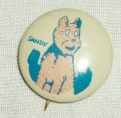 LITTLE ORPHAN ANNIE SANDY DOG KELLOGG CEREAL TIN PEP PIN