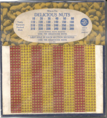 Win a Tin of Delicious Nuts Punch Board © 1930s 2cents/800 holes