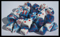 Chessex Astral Blue-White/Red polyhedral 7-die CHX26457
