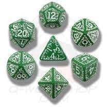 Elven 7  Dice Set - Green w/ White