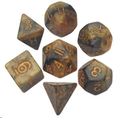 Critical Reinforcers 16mm Resin Dice Polyhedral Set Black/Yellow Gold Numbers