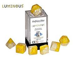 Halfsies Dice: Luminous - 7 Dice Polyhedral Set - Blessed Yellow & Clerical White