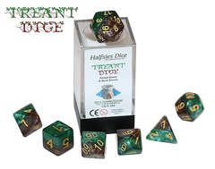Halfsies Dice: Treant - 7 Dice Polyhedral Set - Forest Green & Bark Brown