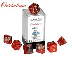 Halfsies Dice: Orichaleum - 7 Dice Polyhedral Set - Vermilion & Cupric Silver