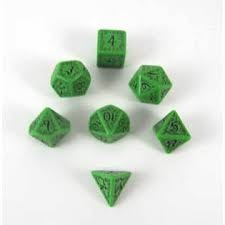 Elven 7  Dice Set - Green w/ Black