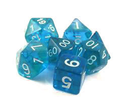 7Ct Set Translucent Mini-Polyhedral Teal/White