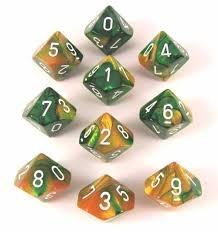 Chessex - Gold-Green D10 Set