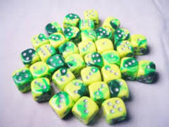 12mm D6 - Green-Yellow/silver